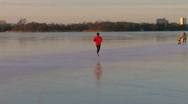 Stock Video Footage of Man jogging on ice 2