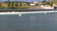 Stock Video Footage of weir and pelicans, #2