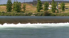 Weir on river, dangerous current, drowning machine, #6 Stock Footage