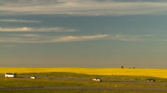 Agriculture, canola fields and busy highway, evening Stock Footage