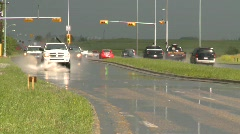 Weather, rain flooded road, truck and cars splash, #2 Stock Footage