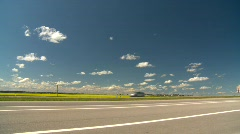 Trucking, highway, single transport truck with summer traffic Stock Footage