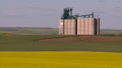 Agriculture, canola fields and modern grain elevators, zoom back Stock Footage