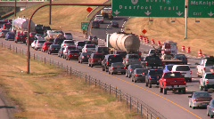 slow freeway traffic, bumper to bumper - stock footage