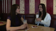 HD1080i Two young woman in cafe Stock Footage