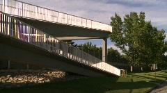 Pedestrian walkway overpass Stock Footage