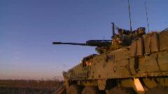 Military, LAV3 armored fighting vehicle barrel, pan, sunrise Stock Footage