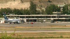 Aircraft, Kelowna air terminal and Boeing 737 Stock Footage