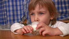 Little girl drinks kefir. Stock Footage