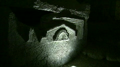 Sarcophagus in the cave of the coffins, Bet Shearim, Israel Stock Footage