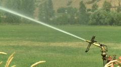 Agriculture, irrigation sprinkler, tight on sprinkler head Stock Footage