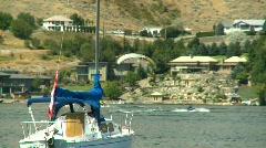 Lake motorboat sailboats summer, #6 parasail Stock Footage