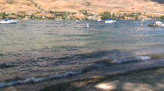 Okanagan Lake, sandy beach Stock Footage