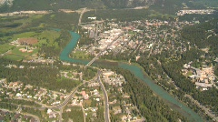 Aerial, town of Banff, Canada Stock Footage