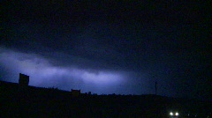 Weather, lightning, multiple cloud-to-cloud and ground strikes silhouetted poles Stock Footage