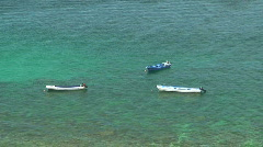 Dive boats laying in the ocean waiting for new divers to come in Sabang Stock Footage