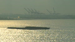 Barges, industrial upper bay, #2 Stock Footage