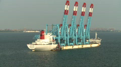 Marine transportation, crane ship Stock Footage
