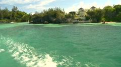 Cruising on water, beach, shore, Bermuda Stock Footage