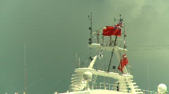 Ship's crowsnest and flags Stock Footage