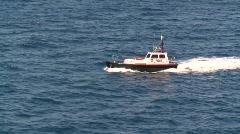 Marine transportation, pilot boat, #7 entering harbour Stock Footage