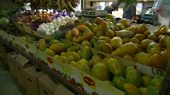 Food, fruit and veggies in the market Stock Footage