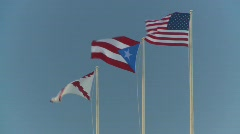 flag, US and Puerto Rican flags - stock footage