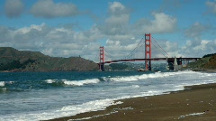 Golden Gate Bridge from Baker Beach Stock Footage