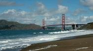 Golden Gate Bridge from Baker Beach Stock Footage