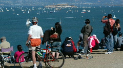 San Francisco Bay with people and boats Stock Footage