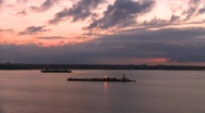 Stock Video Footage of New York harbor, dawn