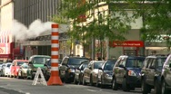 New York City, traffic, steam pipe, medium shot Stock Footage