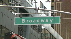 New York City, Times square broadway street sign - stock footage