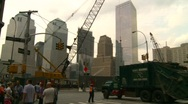 New York City, skyline WTC construction site Stock Footage