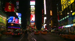 New York City, Times Square fast timelapse traffic, pre pedestrian mall, night Stock Footage