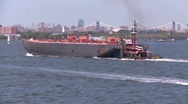 Stock Video Footage of tug and barge, New York City, #2