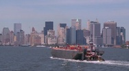 Stock Video Footage of tug and barge, New York City, #3