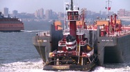 Stock Video Footage of tug and barge, New York City, #9