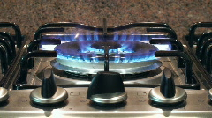 Gas stove flames in the kitchen Stock Footage