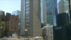 New York City skyline rooftop reservoirs Stock Footage