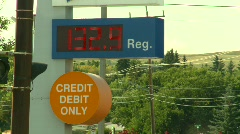 Oil & gas, gas station high price $1.32/Litre Stock Footage