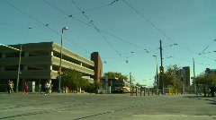 Light rail transit train, downtown Stock Footage