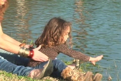 Mother and Daughter at a Pond-1 - stock footage