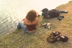 Mother and Daughter at a Pond-8 - stock footage