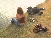 Stock Video Footage of Mother and Daughter at a Pond-8