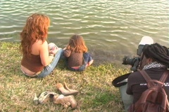 Mother and Daughter at a Pond-10 - stock footage