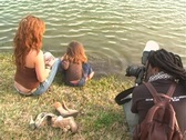 Stock Video Footage of Mother and Daughter at a Pond-10