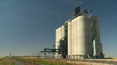 Agriculture, modern grain elevator, #2 wide 3/4 angle Stock Footage