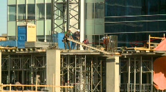 Construction workers on high rise building, #2 Stock Footage