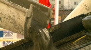 Construction, concrete pouring from truck, #1 Stock Footage